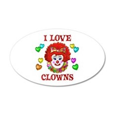 I Love Clowns 20x12 Oval Wall Decal