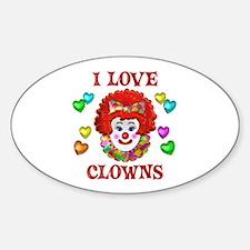 I Love Clowns Sticker (Oval)