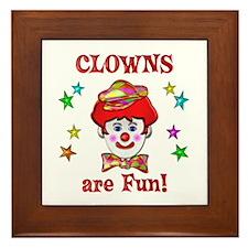 Clowns are Fun Framed Tile