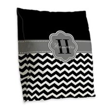 Gray Black Chevron Personalized Burlap Throw Pillo