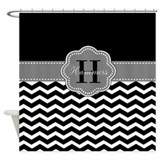 Grey black and white personalized Shower Curtains