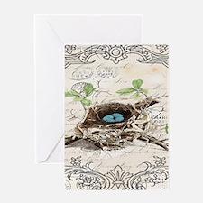 vintage bird nest french botanical art Greeting Ca