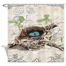 vintage bird nest french botanical art Shower Curt