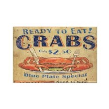 vintage crab woodgrain beach art Magnets