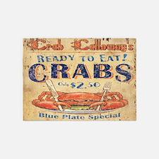 vintage crab woodgrain beach art 5'x7'Area Rug