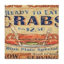 vintage crab woodgrain beach art Tile Coaster