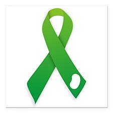"""Green Ribbon Square Car Magnet 3"""" x 3"""""""