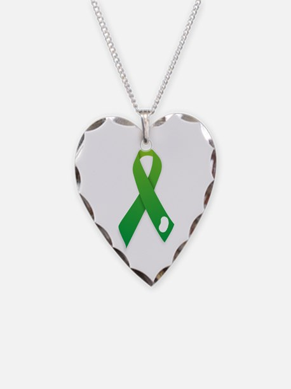 Green Ribbon Necklace Heart Charm