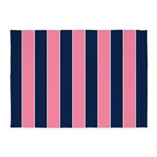 Pink And Blue Rugby Stripes 5'x7'area Rug