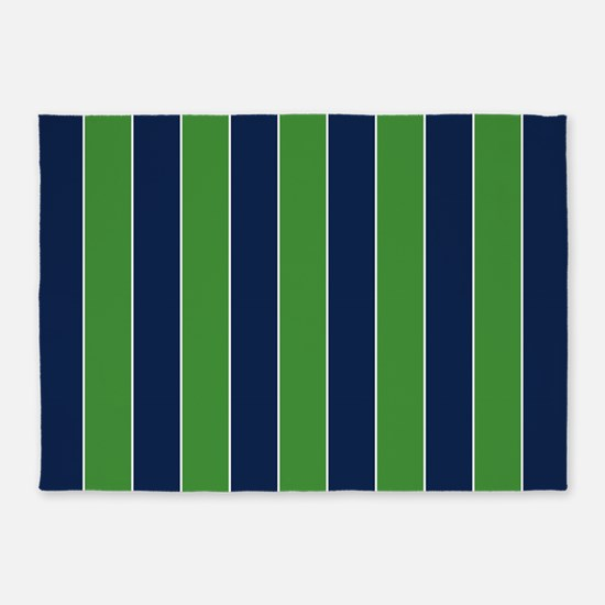 Green And Blue Rugby Stripes 5'x7'area Rug