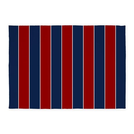 Red And Blue Rugby Stripes 5 X7 Area Rug By Mcornwallshop