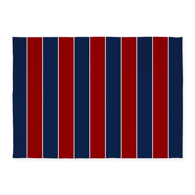 Red and blue rugby stripes 5 39 x7 39 area rug by mcornwallshop for Red and white striped area rug
