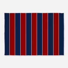 Red And Blue Rugby Stripes 5'x7'area Rug