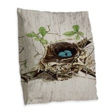 vintage bird nest french botanical art Burlap Thro