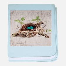 vintage bird nest french botanical art baby blanke