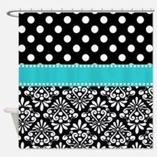 black turquoise damask Shower Curtain