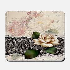 modern lace white rose floral fashion Mousepad