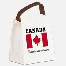 Canada - Flag and Motto Canvas Lunch Bag