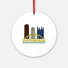 Pittsburgh Pennsylvania Skyline Ornament (Round)