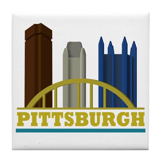 Pittsburgh Pennsylvania Skyline Tile Coaster By Expressyoursoul