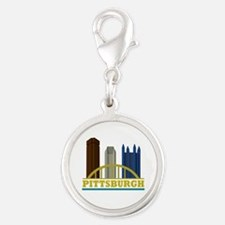 Pittsburgh Pennsylvania Skylin Silver Round Charm