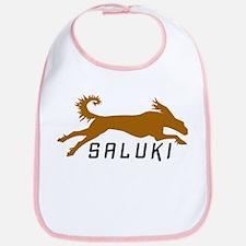 Gold Running Saluki Bib