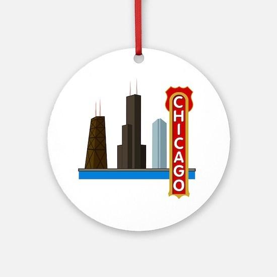 Chicago Illinois Skyline Ornament (Round)