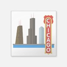 "Chicago Illinois Skyline Square Sticker 3"" x 3"""