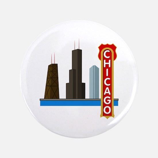 "Chicago Illinois Skyline 3.5"" Button"