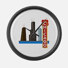 Chicago Illinois Skyline Large Wall Clock