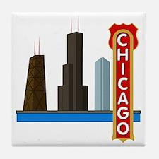 Chicago Illinois Skyline Tile Coaster