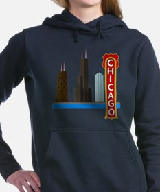 Chicago Illinois Skyline Women's Hooded Sweatshirt