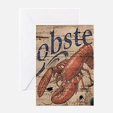 vintage lobster woodgrain beach art Greeting Cards