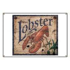 vintage lobster woodgrain beach art Banner