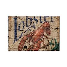 vintage lobster woodgrain beach art Magnets