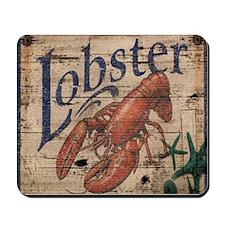 vintage lobster woodgrain beach art Mousepad