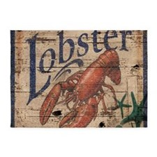 vintage lobster woodgrain beach art 5'x7'Area Rug