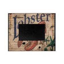 vintage lobster woodgrain beach art Picture Frame