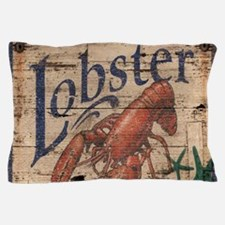 vintage lobster woodgrain beach art Pillow Case