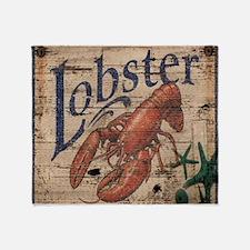 vintage lobster woodgrain beach art Throw Blanket