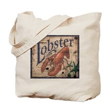 vintage lobster woodgrain beach art Tote Bag