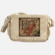 vintage lobster woodgrain beach art Messenger Bag