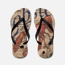 vintage lobster woodgrain beach art Flip Flops
