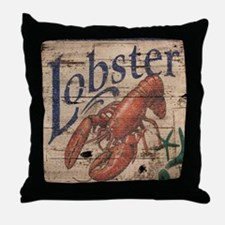 vintage lobster woodgrain beach art Throw Pillow