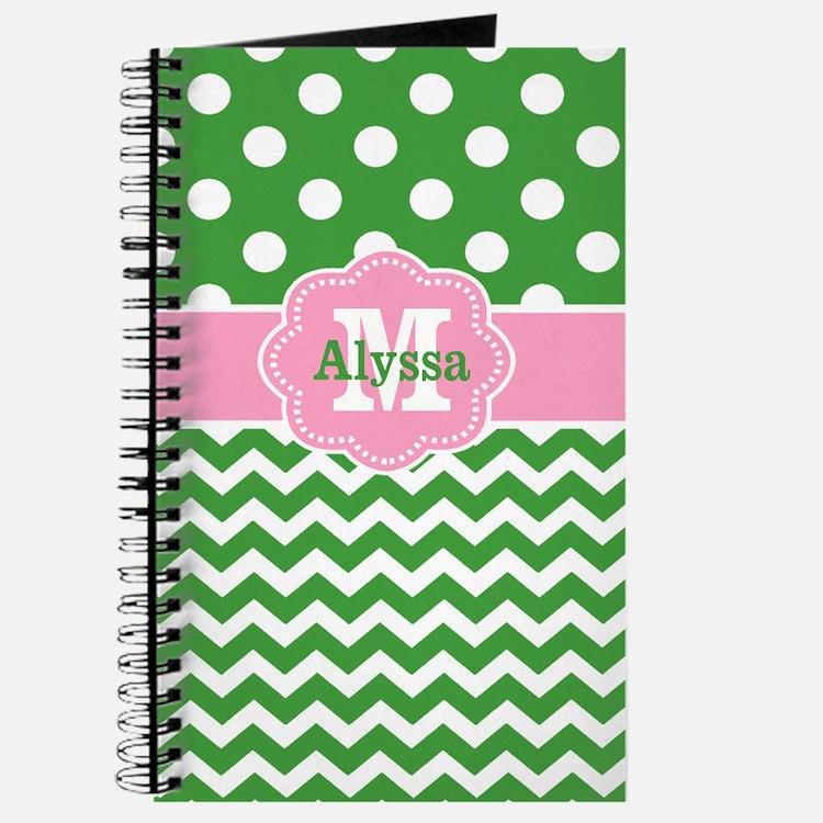 Pink Green Chevron Dots Personalized Journal