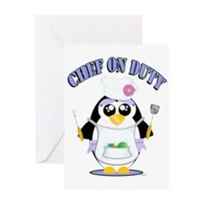 Chef on Duty Penguin female Greeting Cards