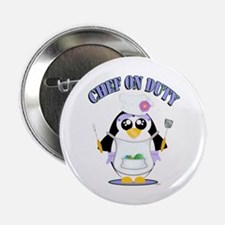"""Chef on Duty Penguin female 2.25"""" Button (10 pack)"""