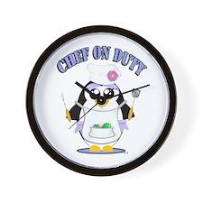 Chef on Duty Penguin female Wall Clock
