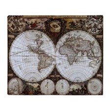 Ancient World Map Throw Blanket