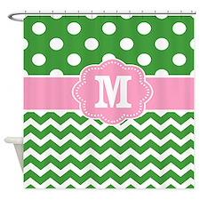 Pink Green Chevron Dots Personalized Shower Curtai